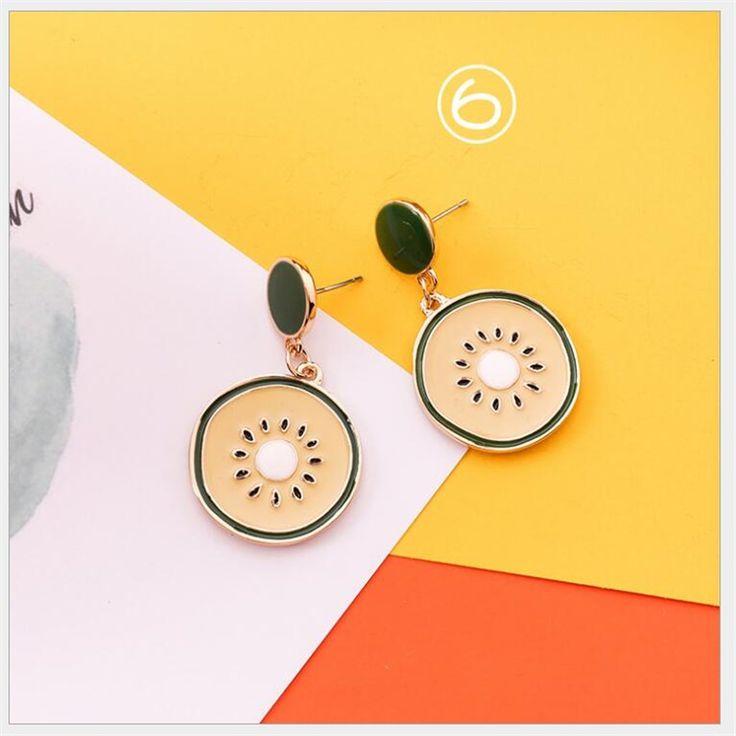 25 sweet fresh summer series earrings heart orange pendant earrings long geometric cactus food earrings statement jewelry