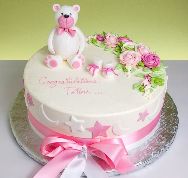 Bear and booties baby shower cake