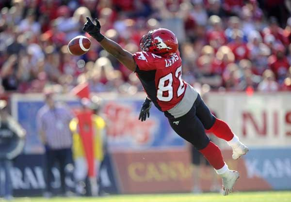 Calgary Stampeders' Nik Lewis just misses a pass for a touchdown during the first half of their CFL football game against the Montreal Alouettes in Calgary, Alberta, July 1, 2012.
