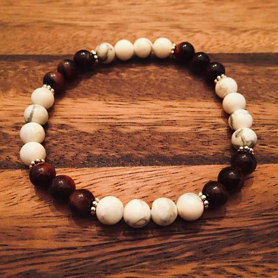 White Howlite & Tigers Eye Bracelet / Beaded Bracelets / Bead
