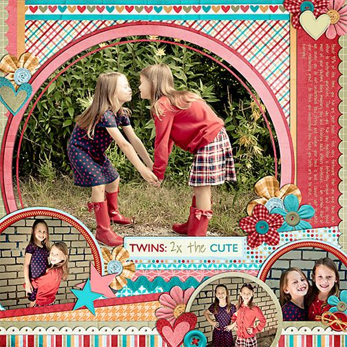 Sisters page with fun colors and circles