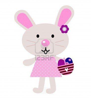 Cute retro easter bunny. Vector Illustration