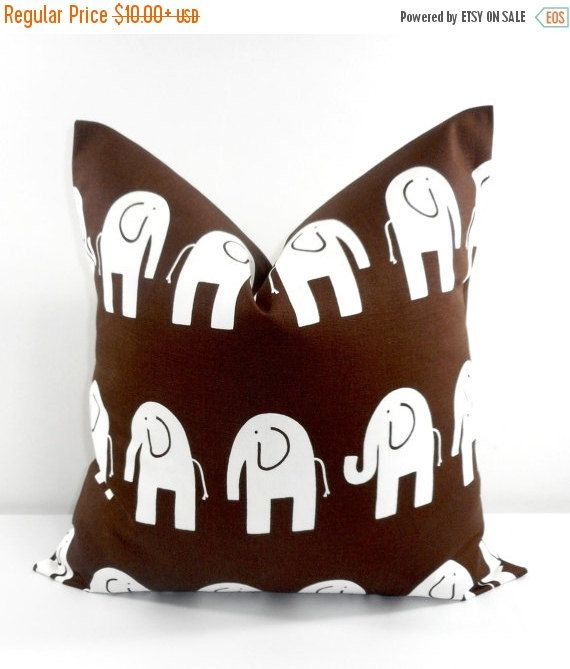 SALE Brown  Pillow Cover. Elephant  Pillow by TwistedBobbinDesigns