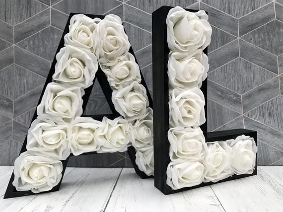 30cm Large Flower Wedding Letters Giant Initials Light Up Etsy Blush Decor Light Up Letters Rose Gold Decor