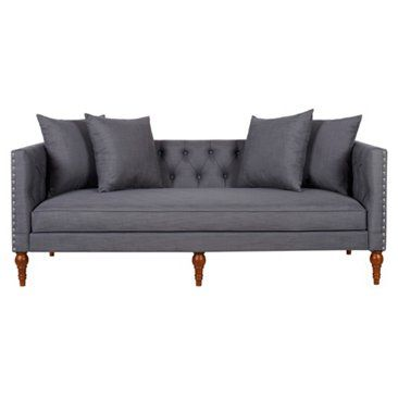 "Check out this item at One Kings Lane! Surrey 83"" Tufted Tuxedo Sofa, Gray"