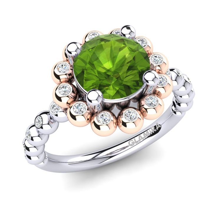 Are you irrevocably in love with your partner? Show your feelings with this Peridot & Swarovski Crystal rings. #Sapphire #jewelry #WhiteGold #Diamond #Onlineshopping #Fashion #EngagementRing