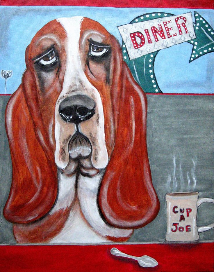 Original Acrylic Painting - Basset Hound dog - Cup a Joe by PuppyLuckArt on Etsy https://www.etsy.com/listing/57858320/original-acrylic-painting-basset-hound