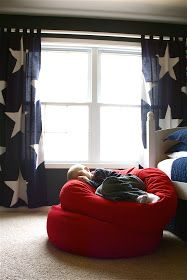Diy. blue and white star curtains for Americana theme room