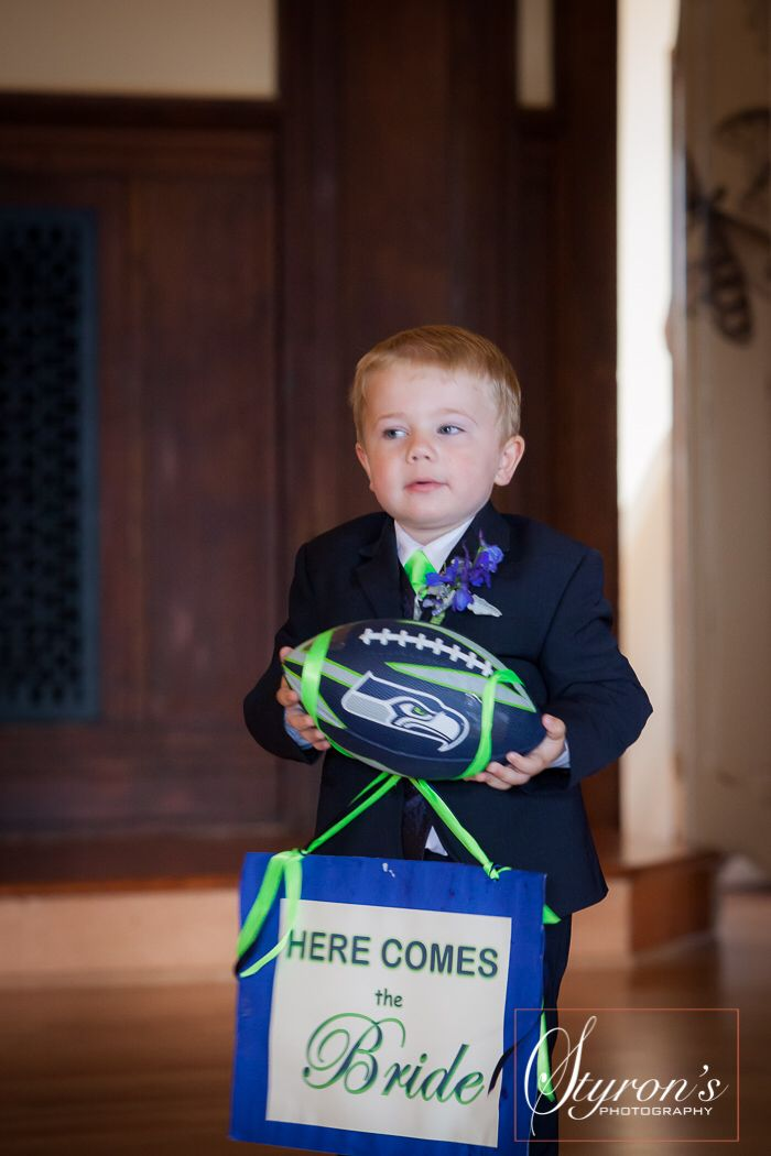 Most excellent ring-bearer! Seahawk Wedding. The BIg Day! Styron's photography
