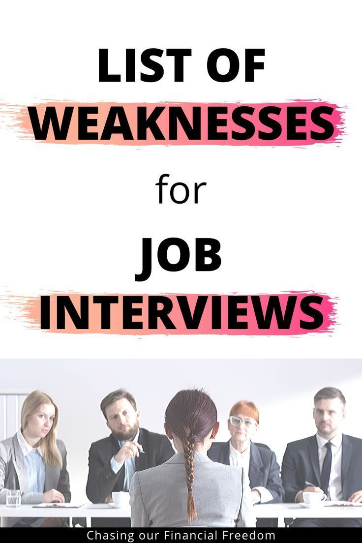 List Of Weaknesses With Examples For Job Interviews | Job ...