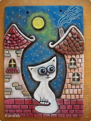 Картина панно рисунок Лепка Литьё Кот на крыше Солёное тесто Гипс Тесто соленое фото 1