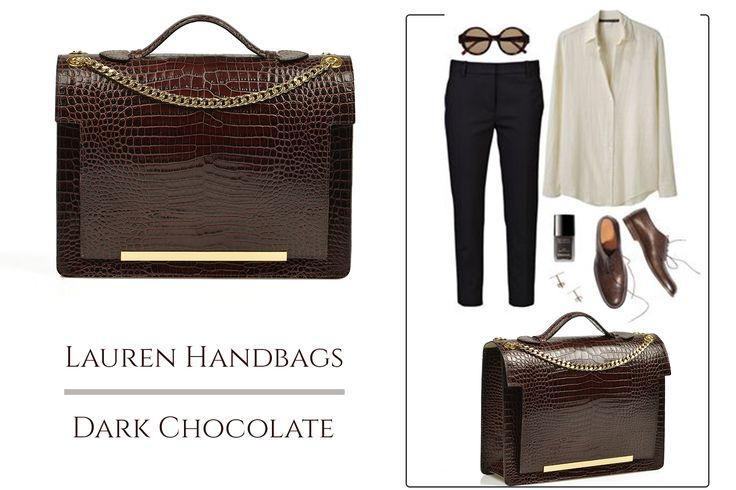 A leather bag with croco effect, in shades of dark chocolate is a perfect way to accessorize your office attire @comenziwildinga