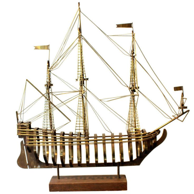 Brass Sailboat Sculpture by Curtis Jere | From a unique collection of antique and modern decorative objects at http://www.1stdibs.com/furniture/more-furniture-collectibles/decorative-objects/