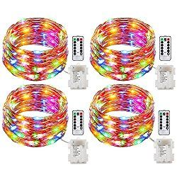 GDEALER 4 Pack Fairy Lights Battery Operated String Lights Waterproof 8 Modes 50 LED 16ft Fairy String Lights with Remote and Timer Firefly Lights for Wedding Party Dinner Festivals(Multi Color)