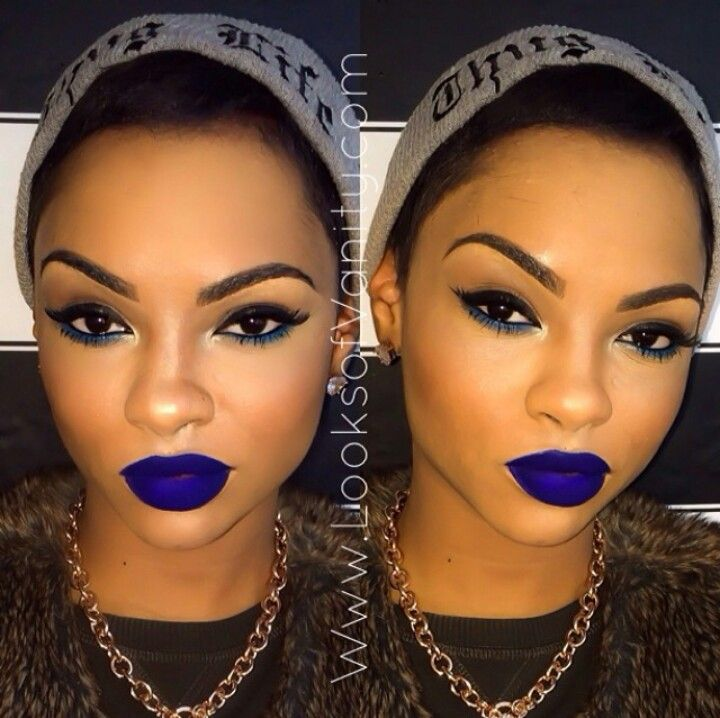 Blue lips on point..i couldnt pull it off though but deff gorg on her!!