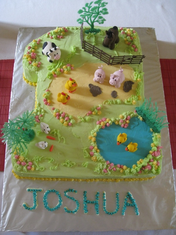 Number 1 cake with farm animals