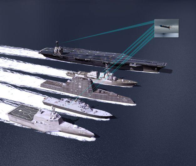 An artist concept of USS Gerald R. Ford (CVN-78) an Arleigh Burke-class guided missile destroyer, USS Zumwalt (DDG-1000) and both variants of the Littoral Combat Ship using the Surface Electronic Warfare Improvement Program (SEWIP). Lockheed Martin image