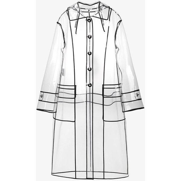 Miu Miu transparent black trim raincoat ($1,605) ❤ liked on Polyvore featuring outerwear, coats, long rain coat, clear raincoat, pu coat, long coat and rain coat
