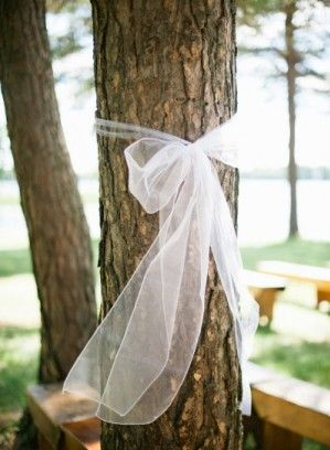soften an outdoor wedding by tying lace or tulle ribbon around trees at the ceremony sight