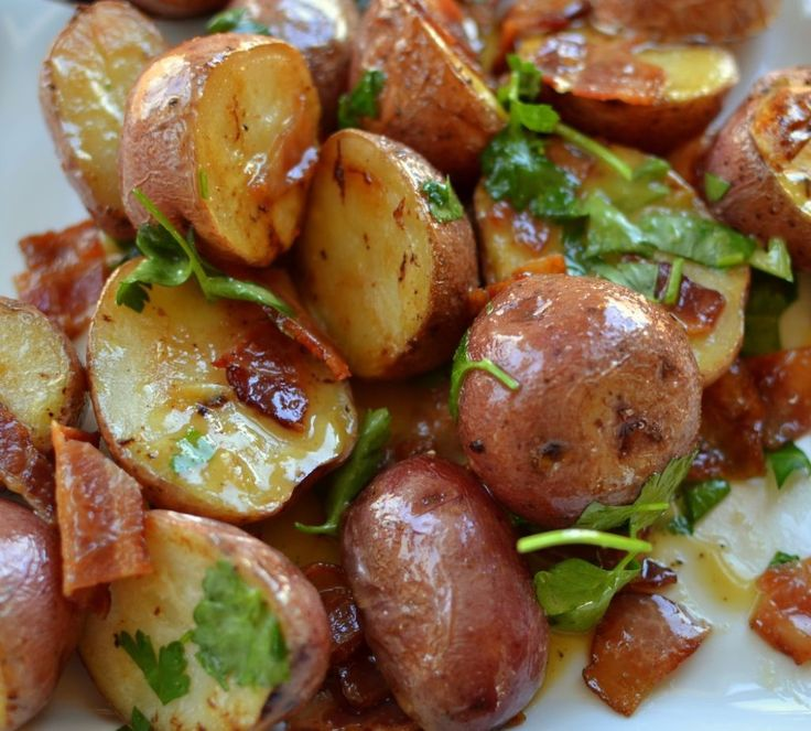 Warm Bacon Honey Mustard Potato Salad.  A perfect side for your next BBQ!  Make sure you use Idaho Potatoes!