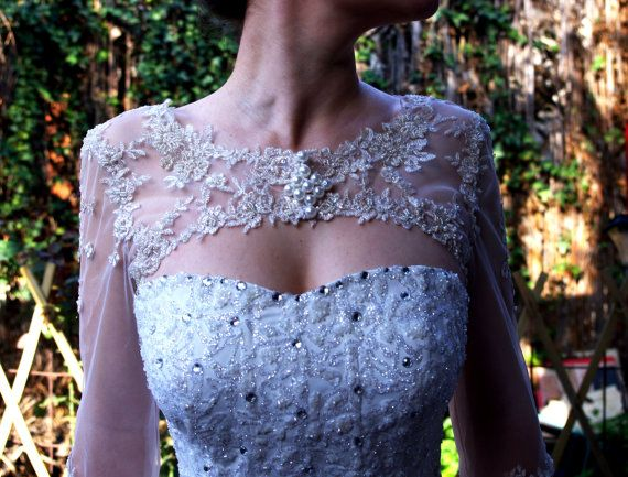 Bridal Bolero Ivory Beaded Lace Pearls 3/4 Sleeve by AmorBride, $80.00