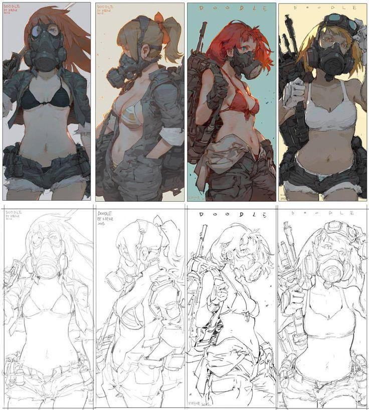 Masks - Concept Girls by Krenz Cushart or just Cushart, Taiwan based concept artist and illustrator.