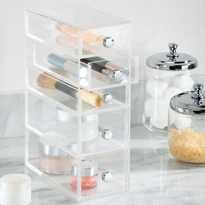 InterDesign Clarity Cosmetic Organizer for Vanity Cabinet to Hold Makeup, Beauty Products - 5 Drawers, Clear Glass Vanity, Vanity Tray, Vanity Cabinet, Makeup Storage, Makeup Organization, Storage Organization, Studio Organization, Organizing Ideas, Storage Ideas