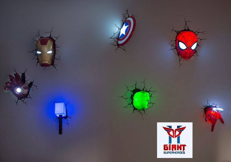 Super cool Avengers 3D Wall Deco Night Lights! 3DlightFX 3D Superhero Deco Lights Pinterest