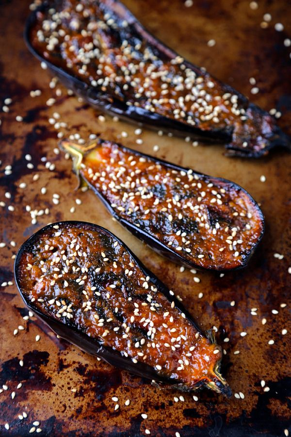 Japanese Eggplant Dish broiled with a sweet and savory miso glaze.