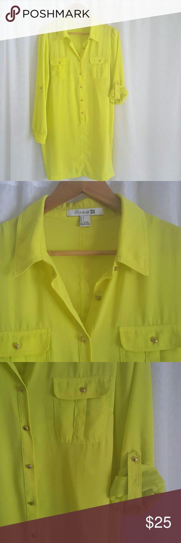 Lime green shirt dress *no belt. Slip under attached Forever 21 Dresses Long Sleeve