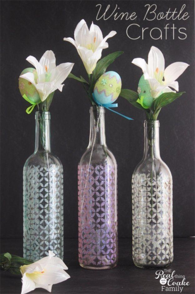 Wine Bottle DIY Crafts - Stenciled Wine Bottle Glitter Vase - Projects for Lights, Decoration, Gift Ideas, Wedding, Christmas. Easy Cut Glass Ideas for Home Decor on Pinterest http://diyjoy.com/wine-bottle-crafts