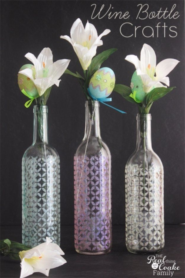 Wine Bottle DIY Crafts - Stenciled Wine Bottle Glitter Vase - Projects for Lights, Decoration, Gift Ideas, Wedding, Christmas. Easy Cut Glass Ideas for Home Decor on Pinterest http://diyjoy.com/wine-bottle-crafts