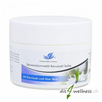 Schwarzkümmelöl - Kanukaöl-Salbe, 50ml  - beruhigend und pflegend - mit Kanukaöl und Aloe Vera - für irritierte und stark strapazierte Haut - Ohne Farb- und Duftstoffe - 100g