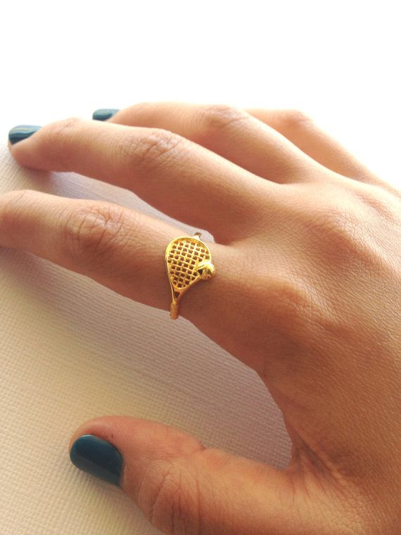 Tennis Racket Ring in Sterling Silver  18K Yellow by VaraJewels
