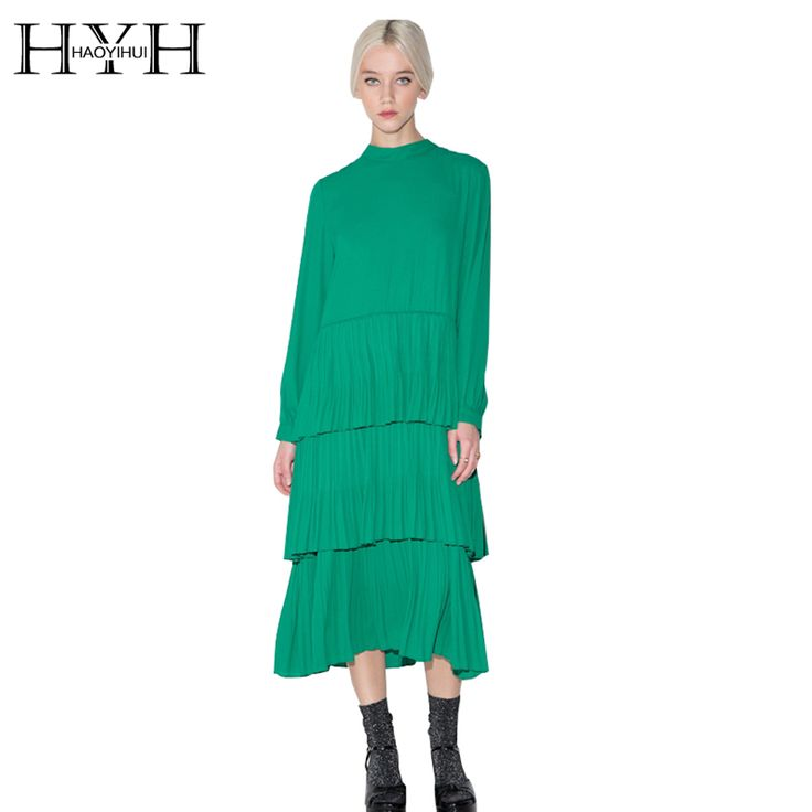 Find More Dresses Information about HYH HAOYIHUI Women Dress Vestidos Pleated Pullover Dress Solid Green Casual Slim Crew Neck Long Sleeve Streetwear Dresses,High Quality dress daisy,China streetwear t-shirt Suppliers, Cheap dress gif from HAOYIHUI CHIC LADIES on Aliexpress.com