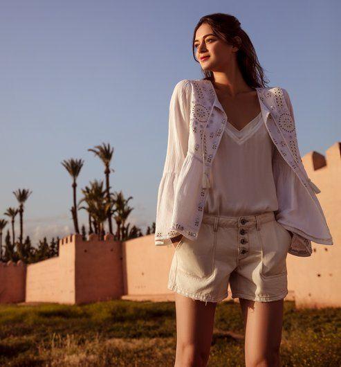 1e61bc0748 Hímzett női kiskabát ekrü - Promod | Shinny summer | Fashion ...