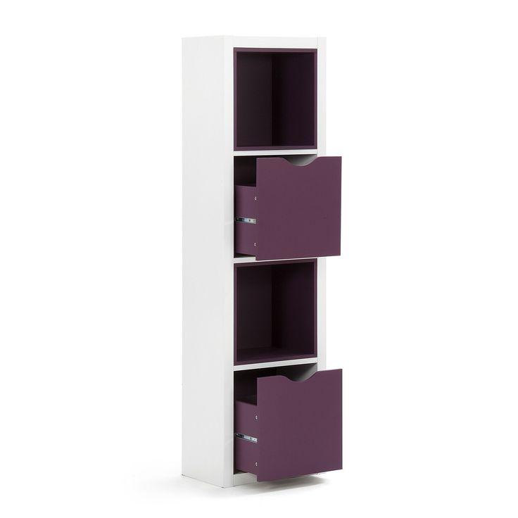 Etagère blanche 4 cases avec tiroirs et cases prunes - Kubico - Étagères-Livings et étagères de salon-Salon et salle à manger-Par pièce - Décoration intérieur - Alinea