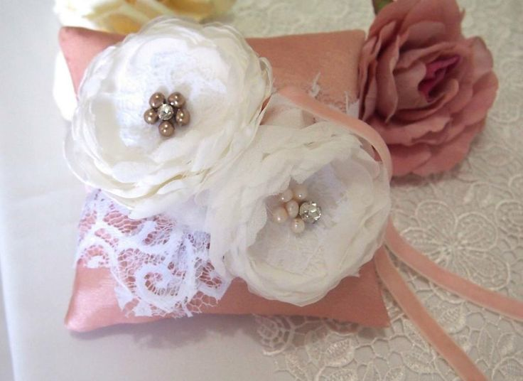 Made to Order. USD 30. Ship within 5-7 days. Shipped Worldwide.#weddingring #ringpillow #lace #flower #rhinestones #wedding #wedding accessories #pink #ribbon #RingPillow  #ringpillow #pastel #weddinggift #weddingring #brides #holymatrimony #flowerringpillow #handmadeflower #whiteflower
