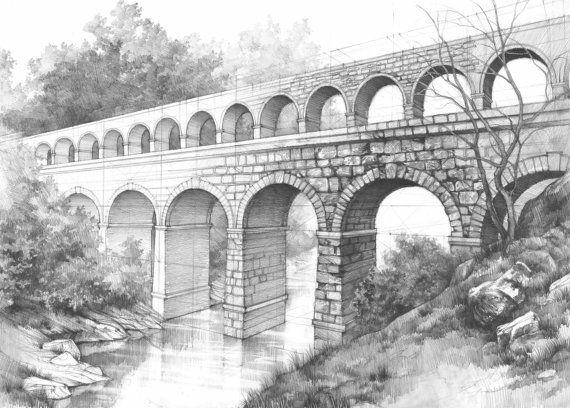 aqueduct ORIGINAL pencil drawing by Katarzyna Kmiecik / roman bridge, old architecture, antient rome, classical building, stone construction