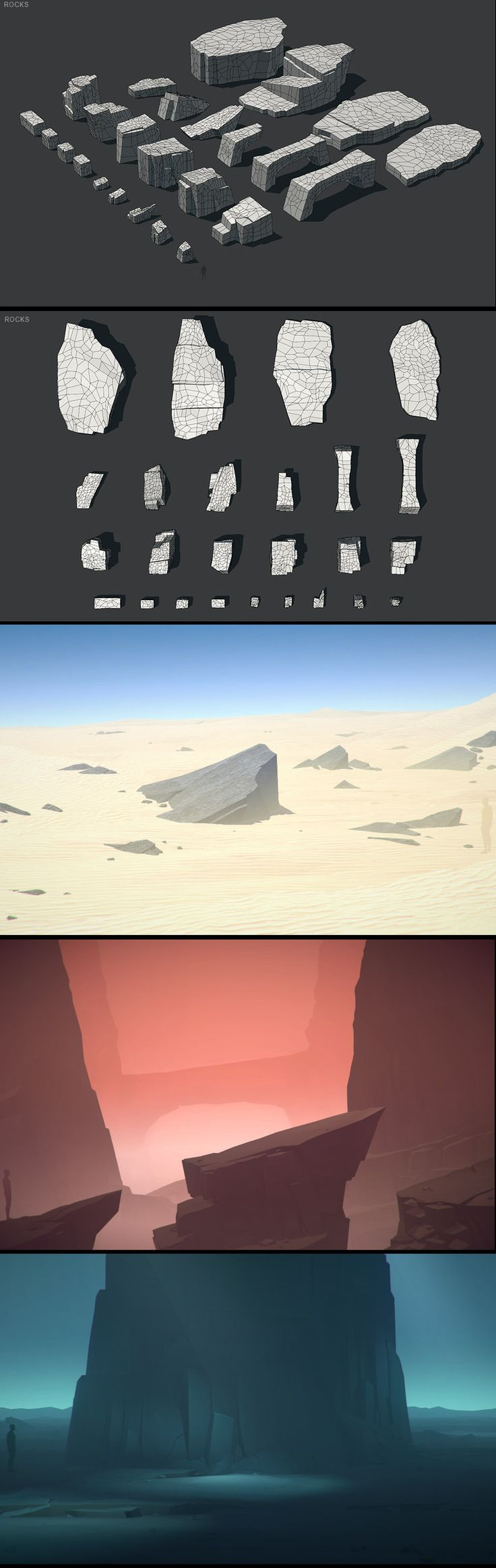 LOW POLY ROCKS • highly optimized, modular & versatile assets • each vertex was carefully placed by hand • more than 45 different high-end models • more than 36 example scenes included • more than 170 detailed screenshots • can achieve all sorts of different looks • ready for low & high-end mobile devices • ready for Oculus, GearVR, Vive, Daydream • great for RPG, FPS & top down games • great for 3D, 2D, 2.5D & isometric games • great for cell shade, toon & illustrative look