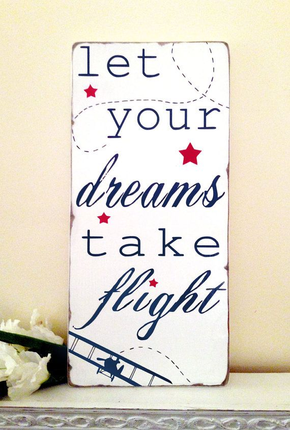 Let Your Dreams Take Flight - Inspirational Quote - Typography Word Art Wood Sign- Beautiful Nursery or Playroom Sign