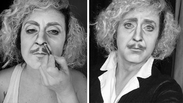 Painter and makeup artist Lucia Pittalis has some seriously impressive  skills, and she puts them to use transforming herself into anyone she damn  well pleases. Below you'll find a video and a collection of photos showing  some of the movie characters and celebrities she's turned herself into.  They include characters like Gene Wilder's Dr. Frankenstein, Iggy Pop, Al  Pacino from Scarface, Sylvester Stallone from Rambo, Hulk Hogan, and more.  Oh! And she doesn't use any kind of…