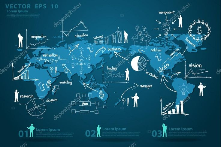 Moderno mapa global economía empresarial — Vector de stock #42444089 Moderno mapa economía global de negocios con los elementos de la infografía y gráfica creativa estrategia de negocios de dibujo concepto de plan idea. diseño de ilustración
