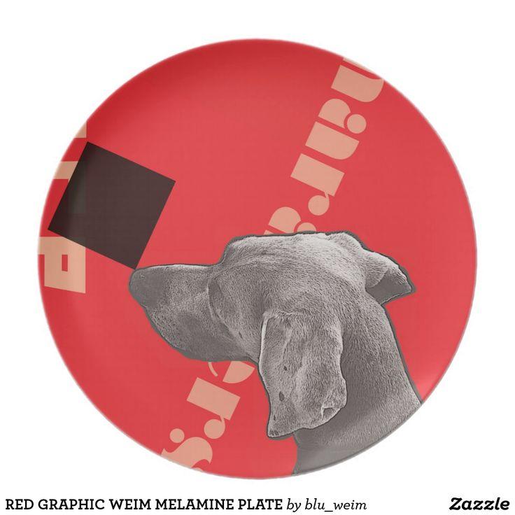 RED GRAPHIC WEIM MELAMINE PLATE