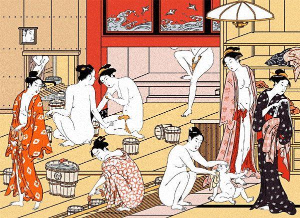 Ukiyo-e, showing a public bath, Sentoh, in Edo era.