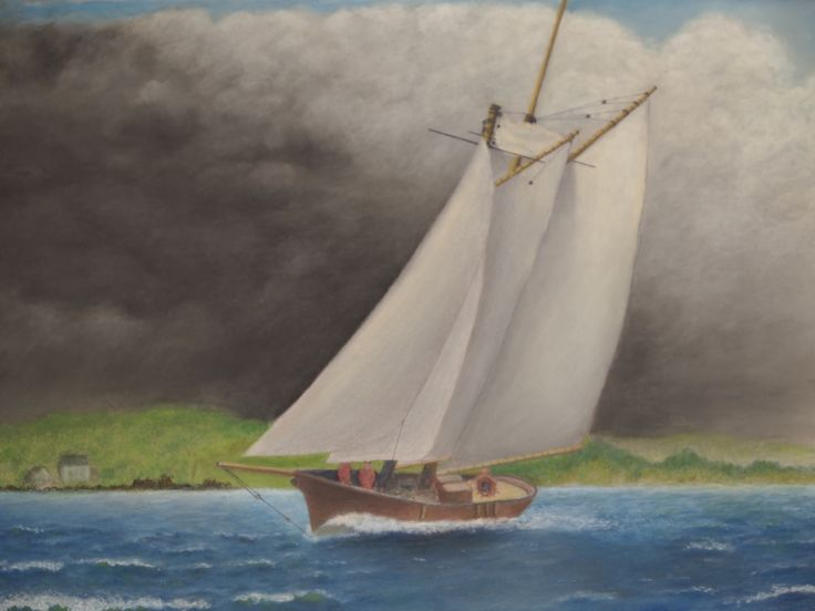 Soft pastel painting of a schooner