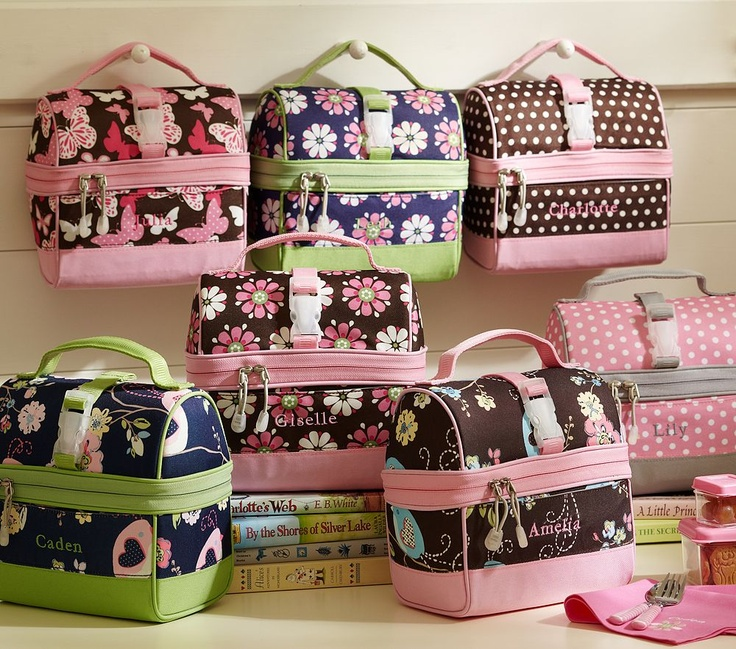 Cute lunch box pattern for the fall - navy with birds