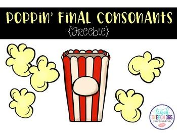 FREE final consonant deletion for early developing consonants (p, b, t, d, m, n). Give students a copy of pg. 3 and 4.  They will cut out, color, and glue the popcorn pieces onto pg. 3.Great to send home for extra practice or hang on your wall for decoration!  2017 Teach Speech 365