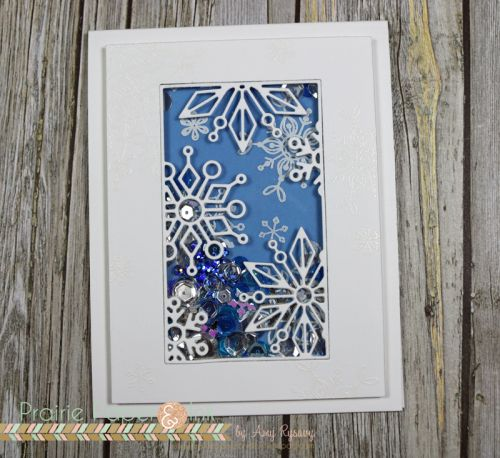 Simon Says Stamp Frozen Fractals Shaker Card | AmyR Christmas Card Series #20