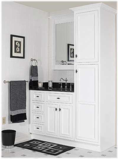 How about something like this in the master bath? But have the tall cabinet on the left instead?